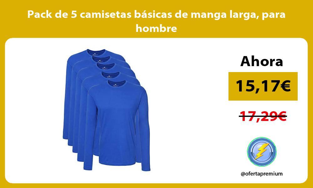 Pack de 5 camisetas básicas de manga larga para hombre
