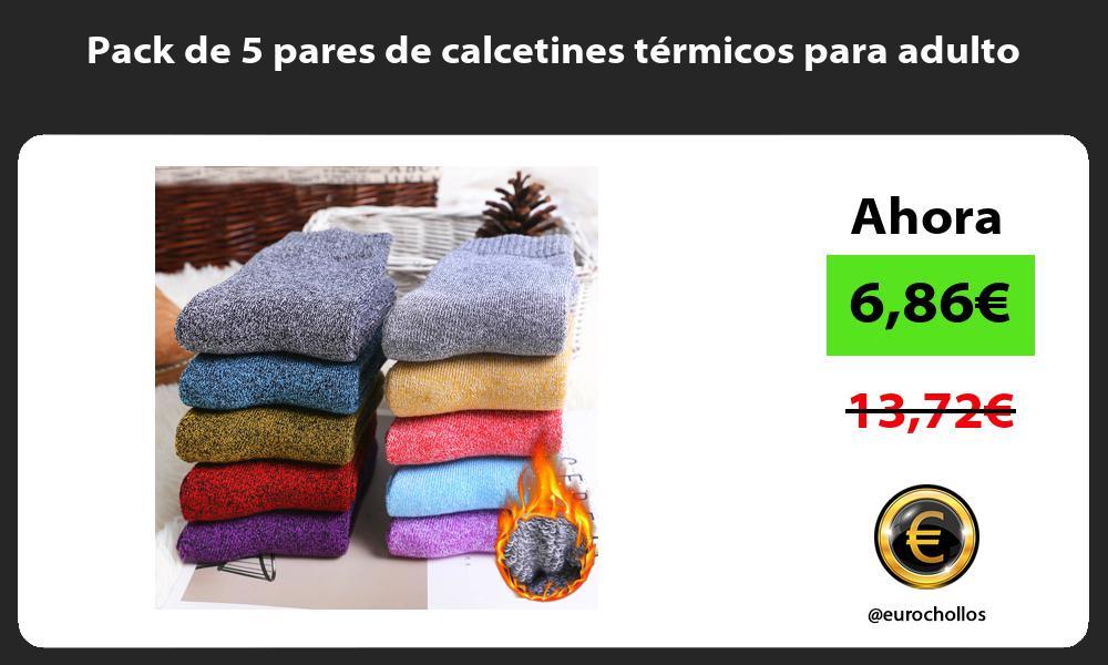 Pack de 5 pares de calcetines térmicos para adulto