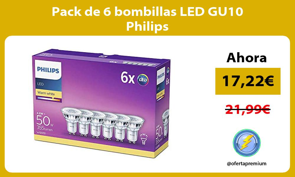 Pack de 6 bombillas LED GU10 Philips