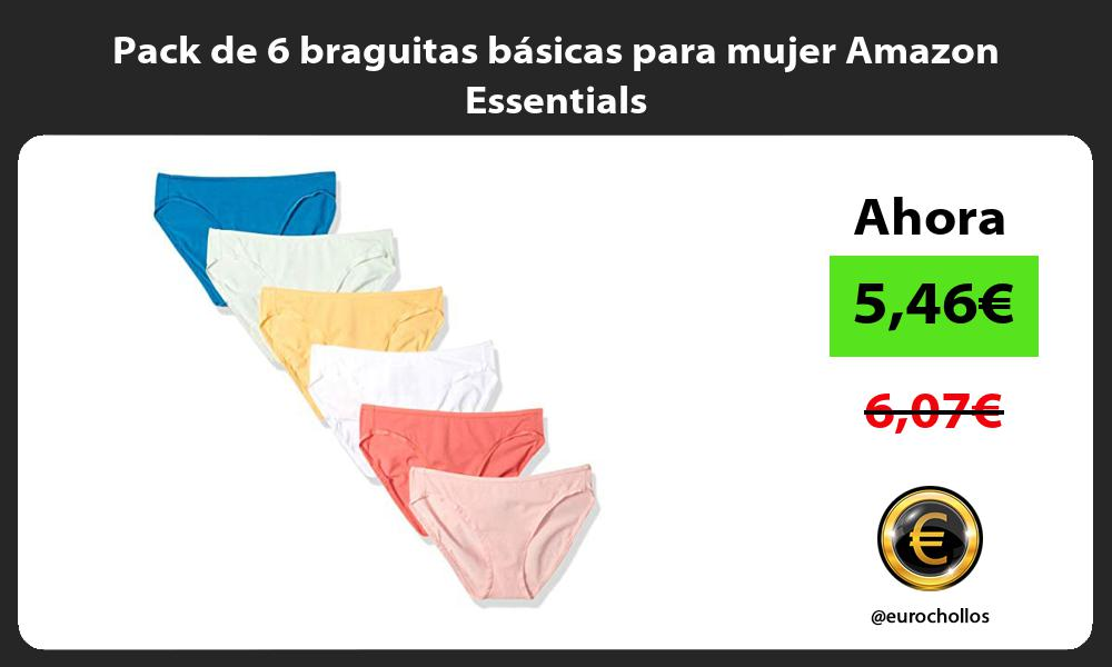 Pack de 6 braguitas básicas para mujer Amazon Essentials