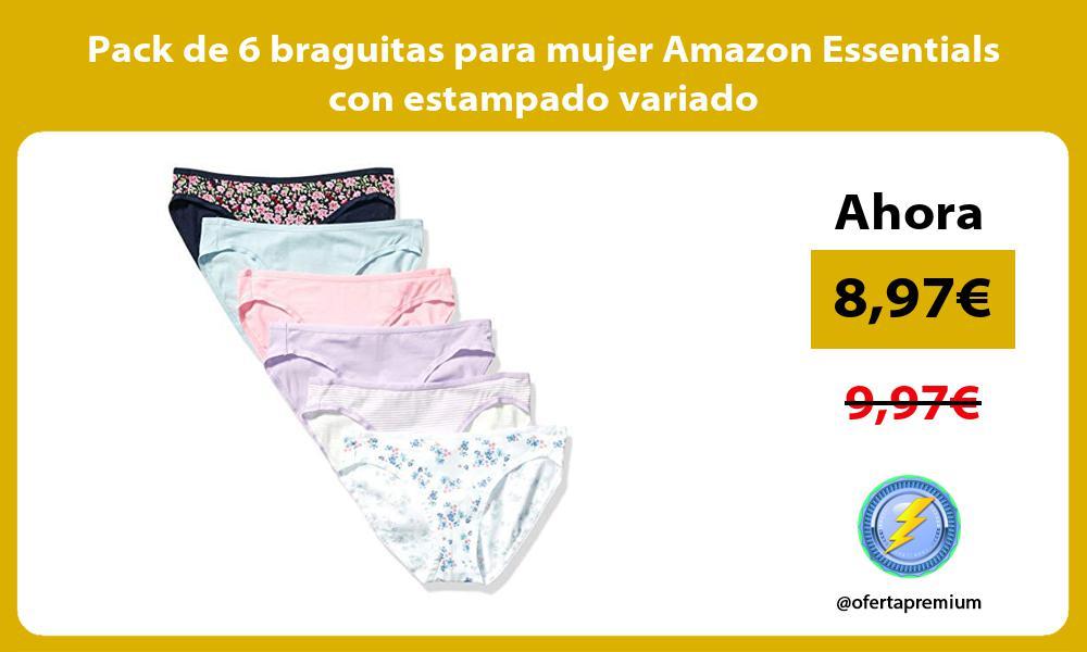 Pack de 6 braguitas para mujer Amazon Essentials con estampado variado