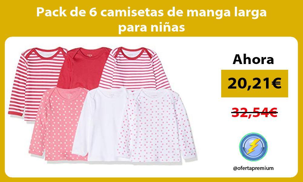 Pack de 6 camisetas de manga larga para niñas