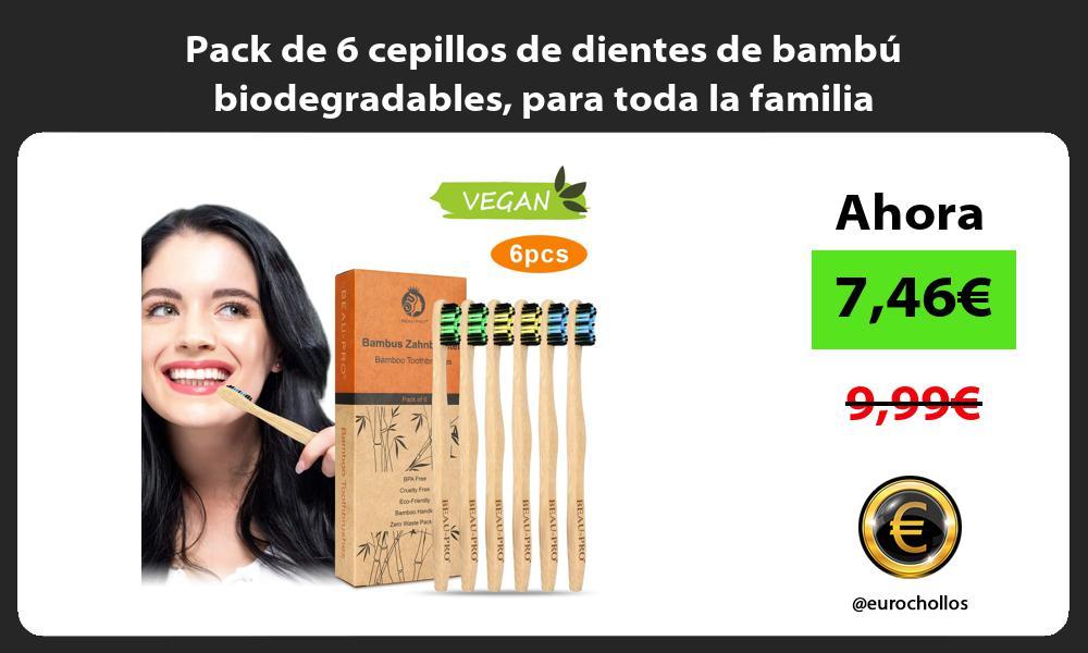 Pack de 6 cepillos de dientes de bambú biodegradables para toda la familia
