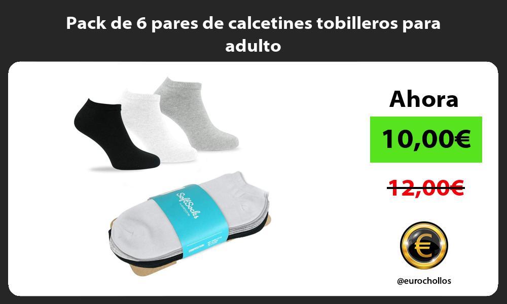 Pack de 6 pares de calcetines tobilleros para adulto