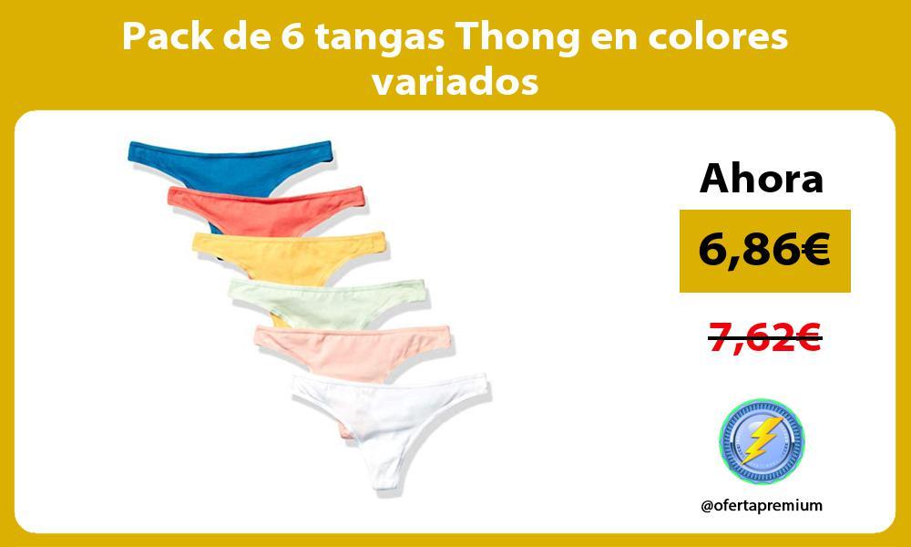 Pack de 6 tangas Thong en colores variados