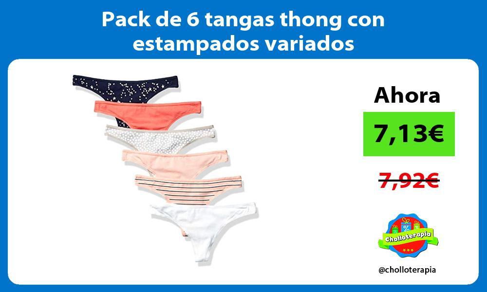 Pack de 6 tangas thong con estampados variados