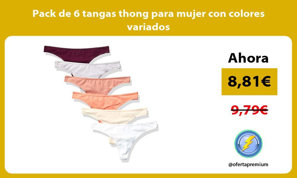 Pack de 6 tangas thong para mujer con colores variados