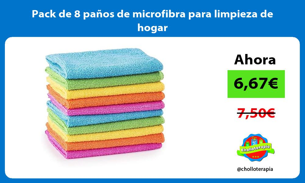 Pack de 8 paños de microfibra para limpieza de hogar