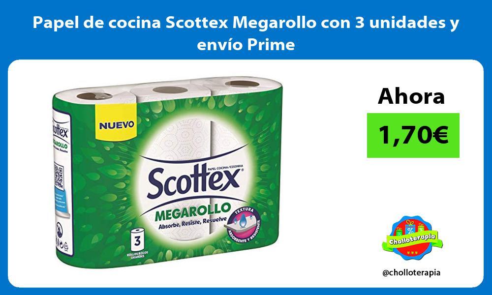 Papel de cocina Scottex Megarollo con 3 unidades y envío Prime