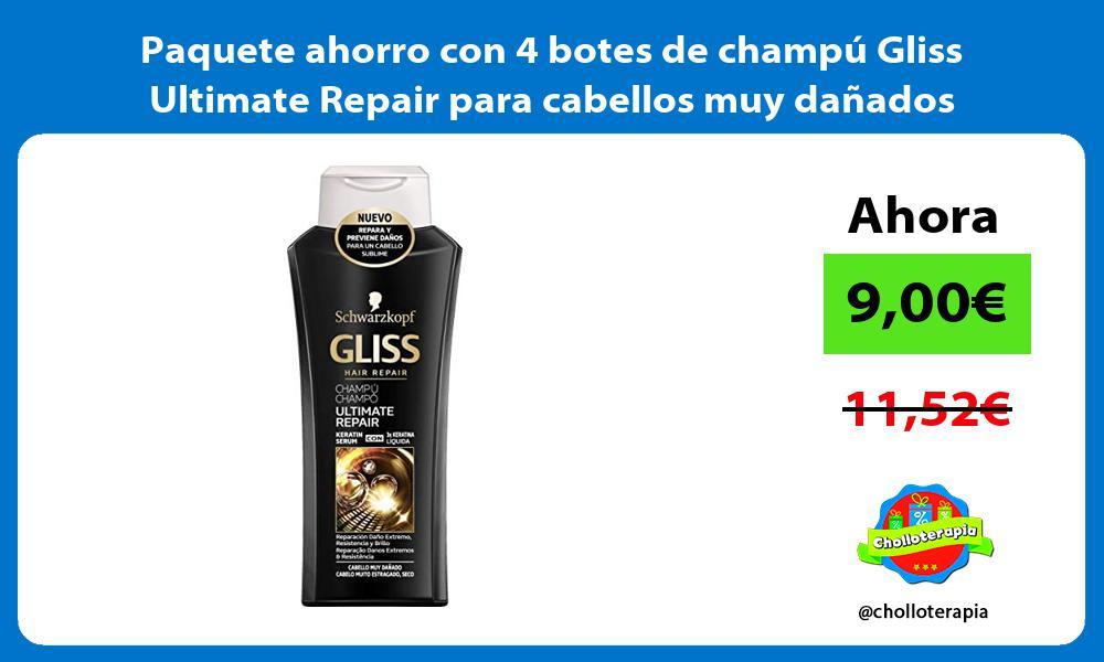 Paquete ahorro con 4 botes de champú Gliss Ultimate Repair para cabellos muy dañados