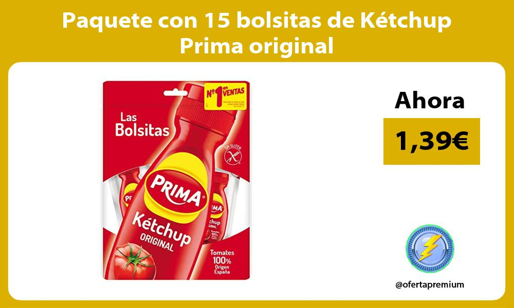Paquete con 15 bolsitas de Kétchup Prima original