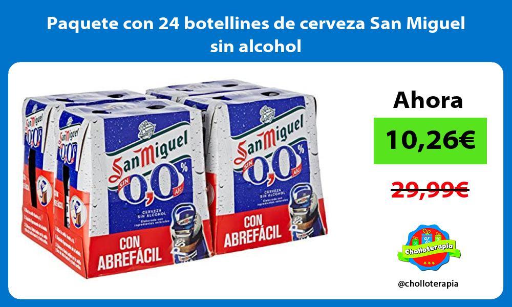 Paquete con 24 botellines de cerveza San Miguel sin alcohol