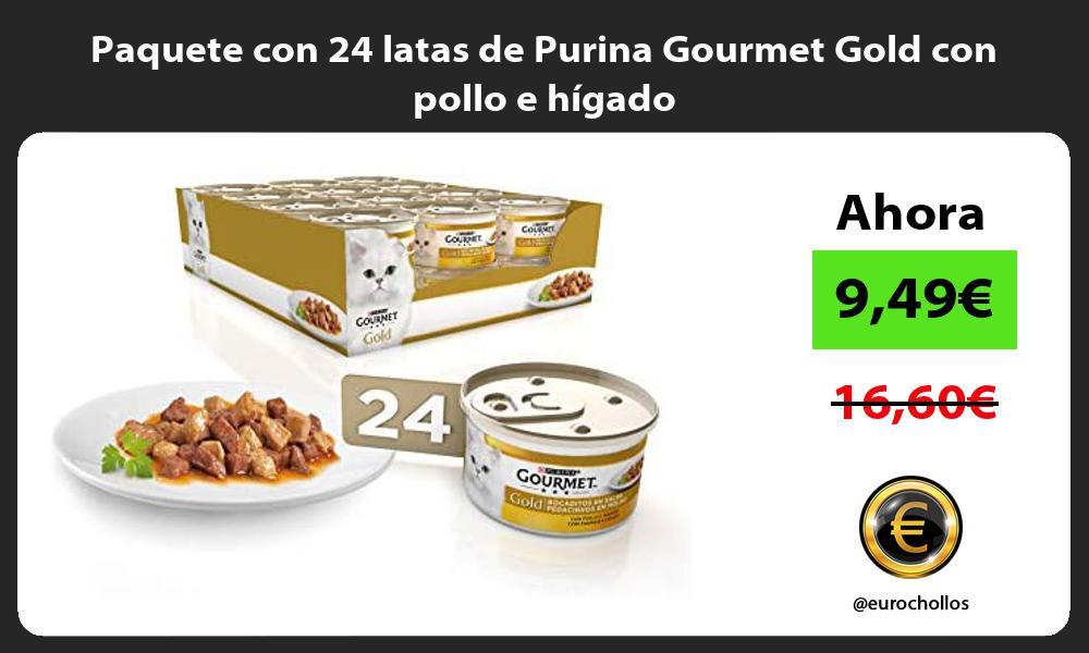 Paquete con 24 latas de Purina Gourmet Gold con pollo e hígado