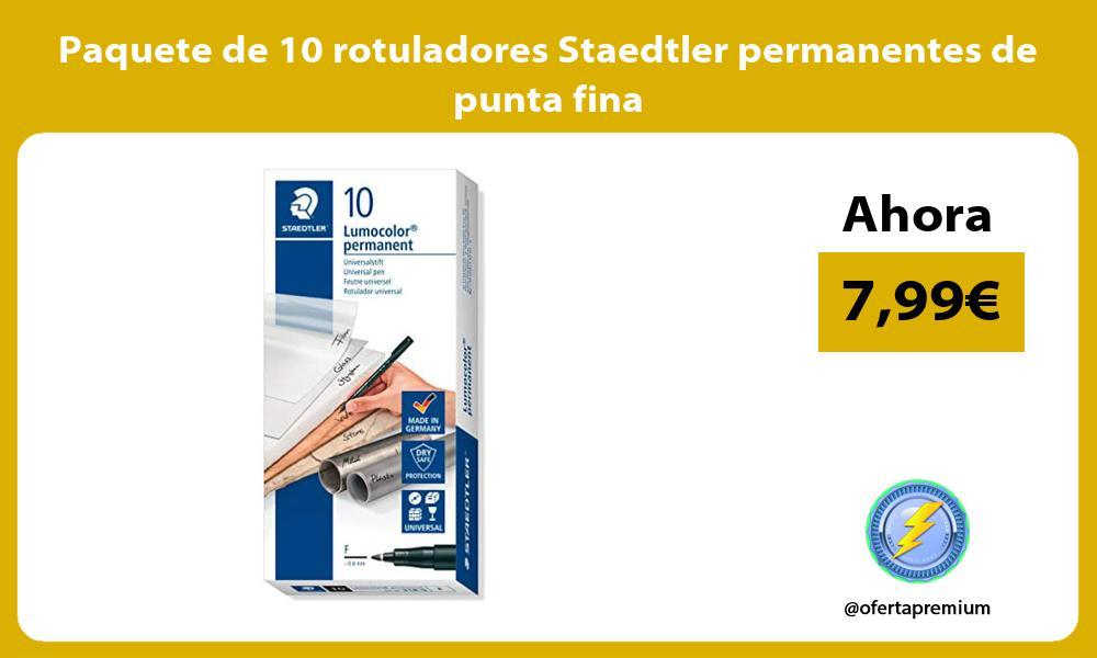 Paquete de 10 rotuladores Staedtler permanentes de punta fina