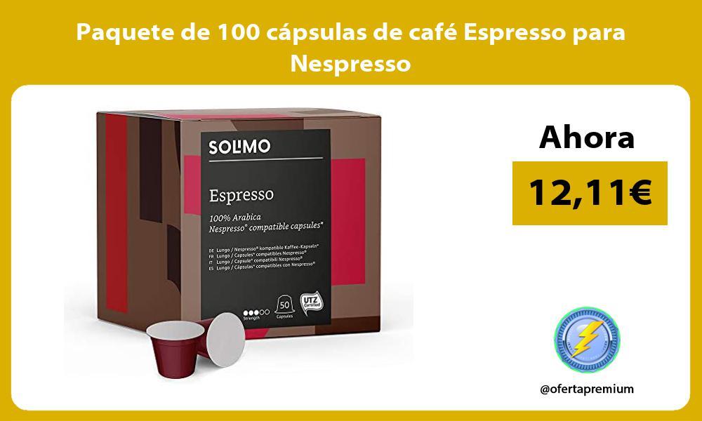 Paquete de 100 cápsulas de café Espresso para Nespresso