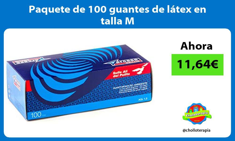 Paquete de 100 guantes de látex en talla M
