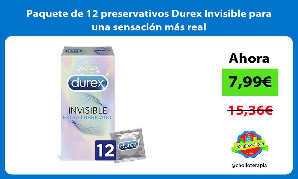 Paquete de 12 preservativos Durex Invisible para una sensación más real