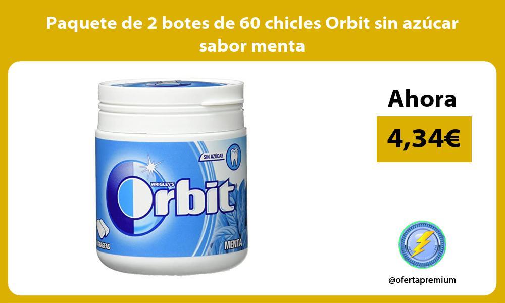 Paquete de 2 botes de 60 chicles Orbit sin azúcar sabor menta