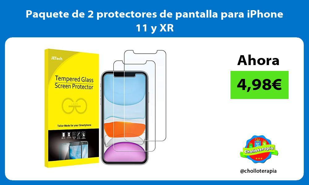 Paquete de 2 protectores de pantalla para iPhone 11 y XR