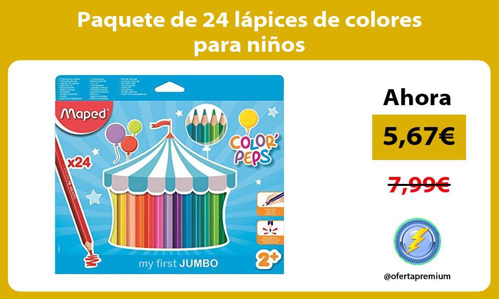 Paquete de 24 lápices de colores para niños