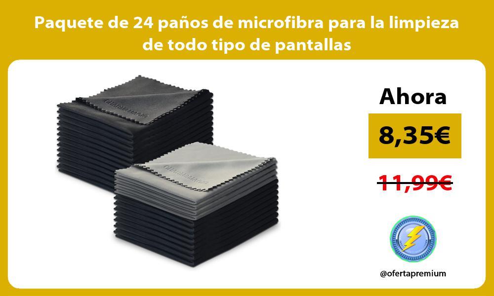 Paquete de 24 paños de microfibra para la limpieza de todo tipo de pantallas