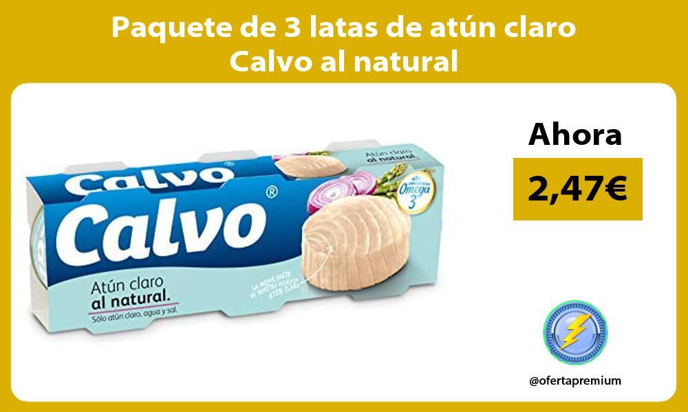 Paquete de 3 latas de atún claro Calvo al natural