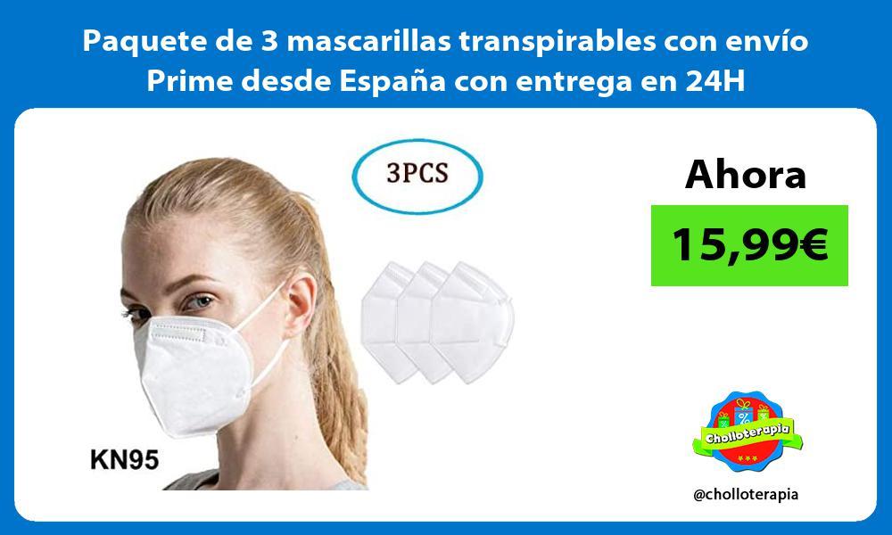 Paquete de 3 mascarillas transpirables con envío Prime desde España con entrega en 24H