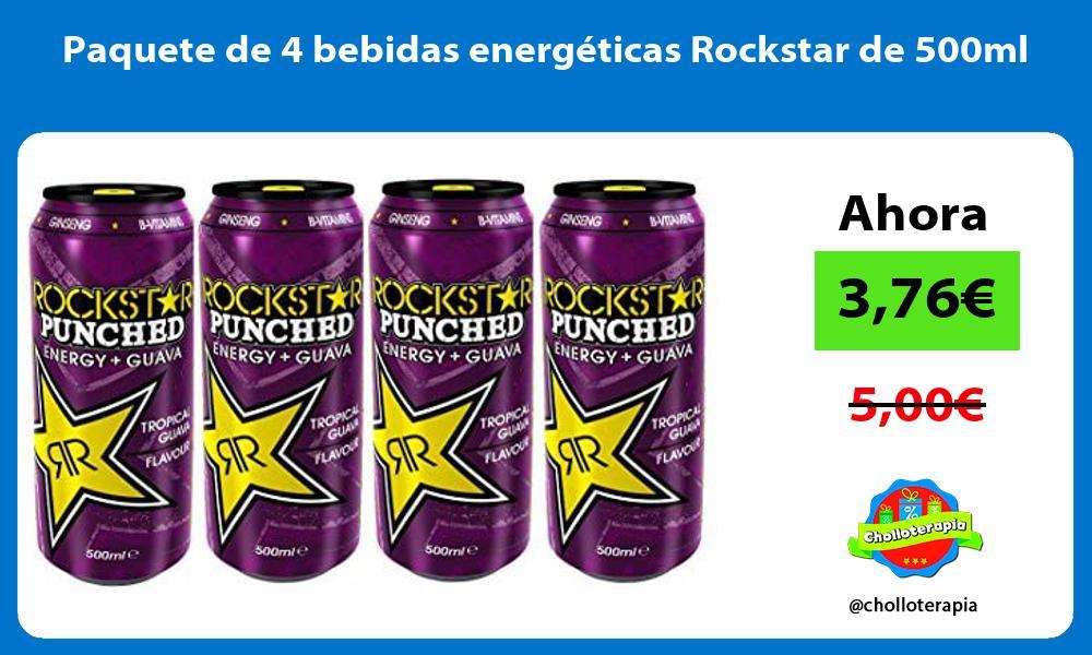 Paquete de 4 bebidas energéticas Rockstar de 500ml