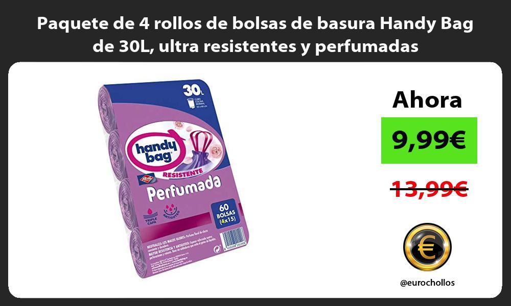 Paquete de 4 rollos de bolsas de basura Handy Bag de 30L ultra resistentes y perfumadas