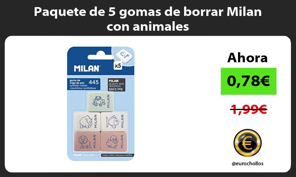 Paquete de 5 gomas de borrar Milan con animales