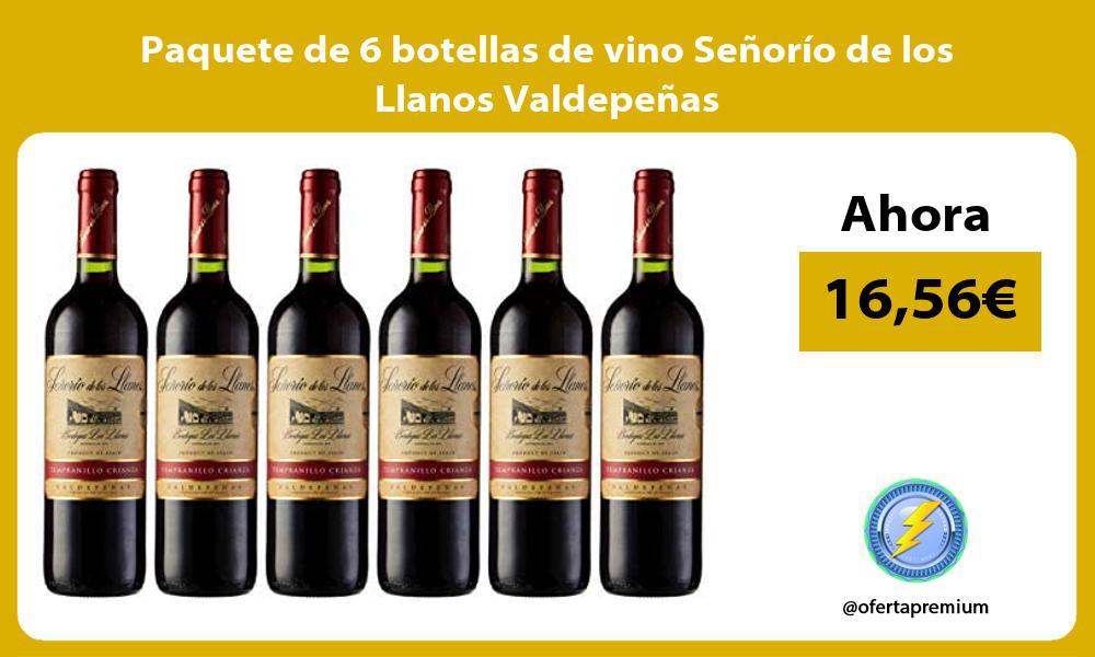 Paquete de 6 botellas de vino Señorío de los Llanos Valdepeñas
