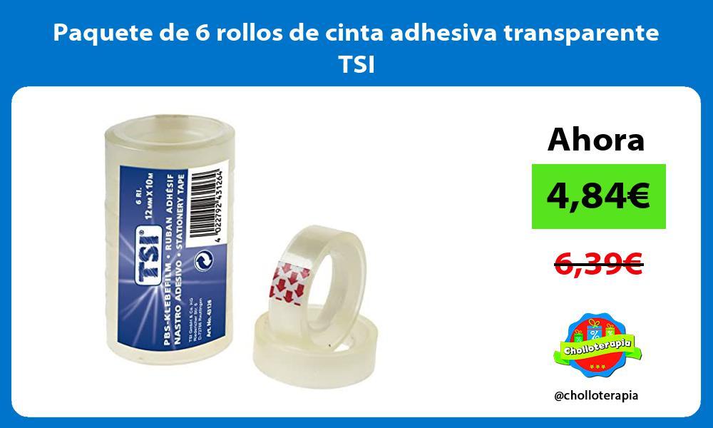 Paquete de 6 rollos de cinta adhesiva transparente TSI