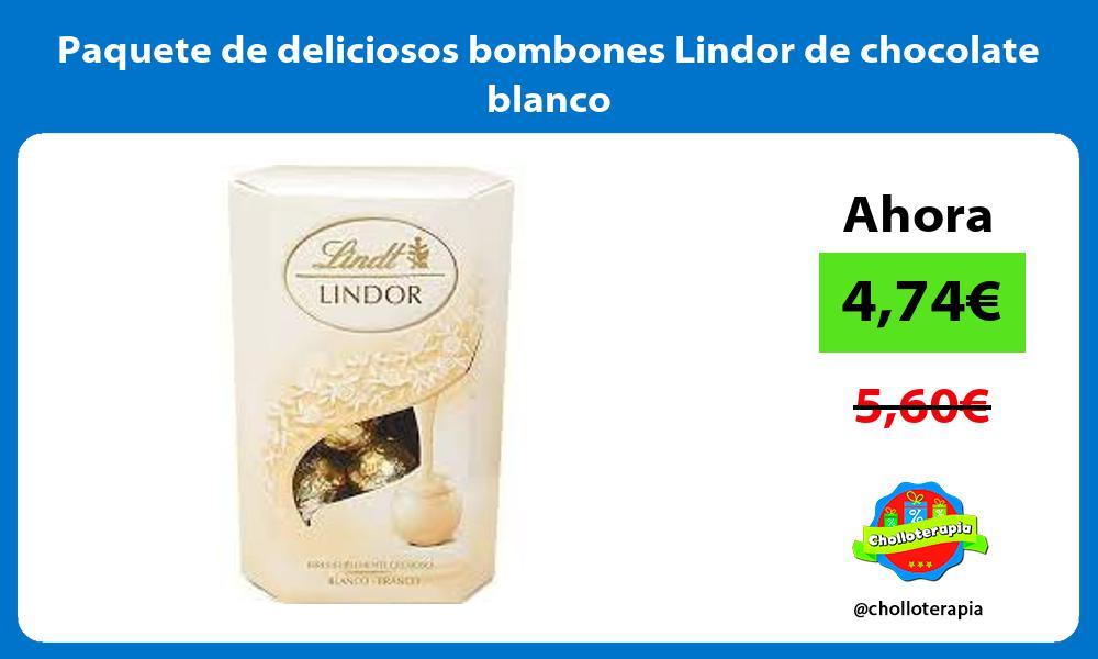 Paquete de deliciosos bombones Lindor de chocolate blanco