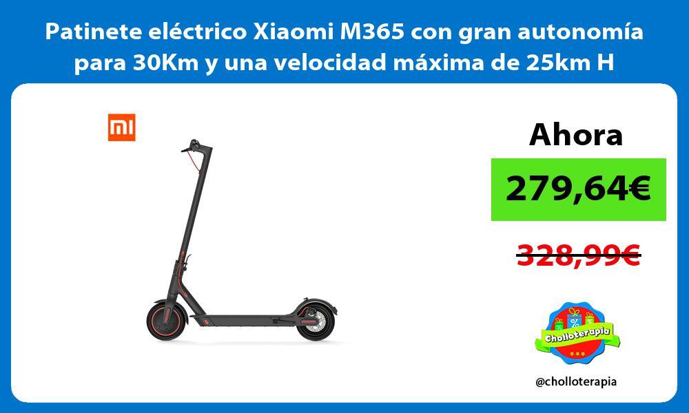 Patinete eléctrico Xiaomi M365 con gran autonomía para 30Km y una velocidad máxima de 25km H
