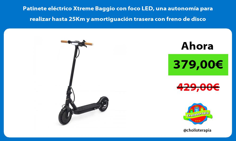 Patinete eléctrico Xtreme Baggio con foco LED una autonomía para realizar hasta 25Km y amortiguación trasera con freno de disco