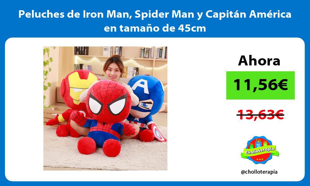 Peluches de Iron Man Spider Man y Capitán América en tamaño de 45cm