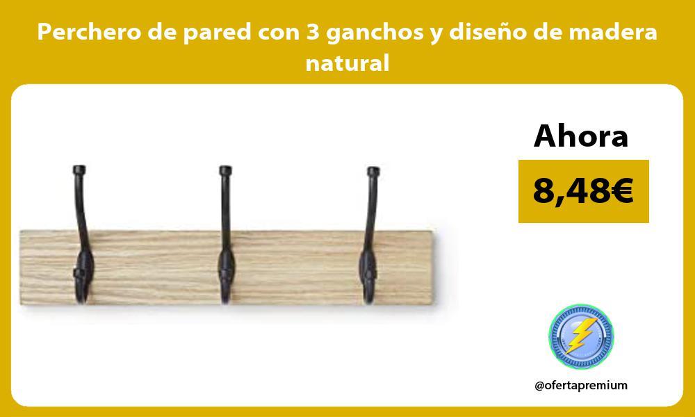 Perchero de pared con 3 ganchos y diseño de madera natural