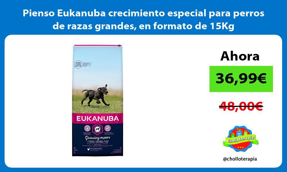 Pienso Eukanuba crecimiento especial para perros de razas grandes en formato de 15Kg