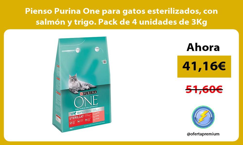 Pienso Purina One para gatos esterilizados con salmón y trigo Pack de 4 unidades de 3Kg