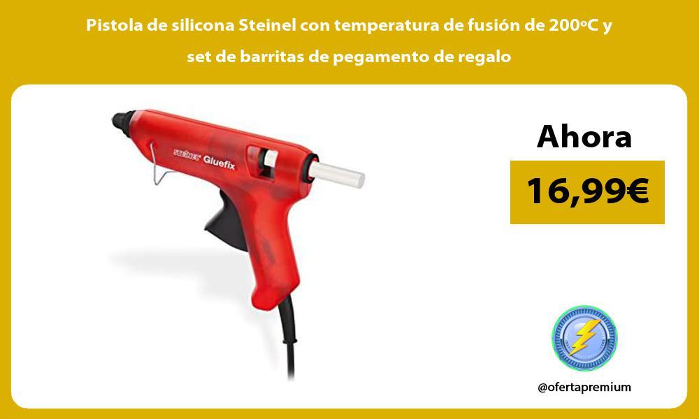 Pistola de silicona Steinel con temperatura de fusión de 200ºC y set de barritas de pegamento de regalo