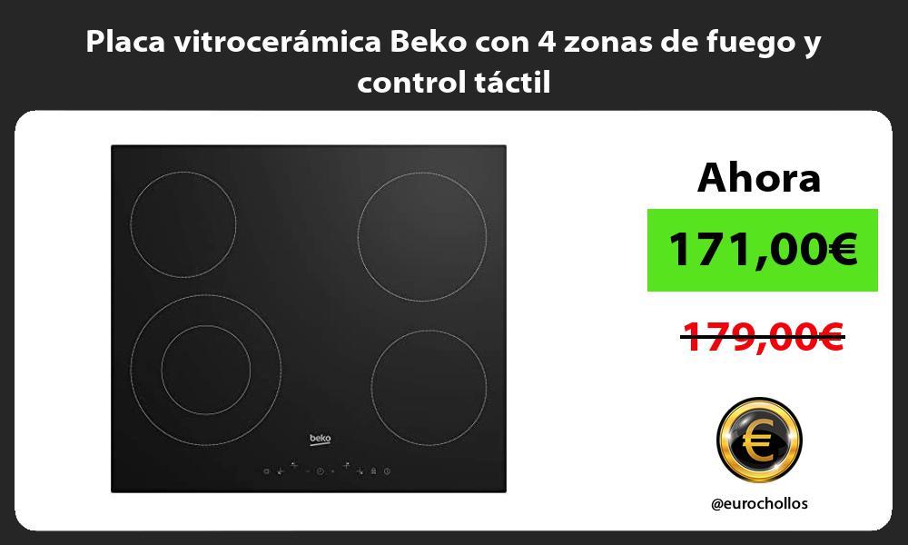Placa vitrocerámica Beko con 4 zonas de fuego y control táctil