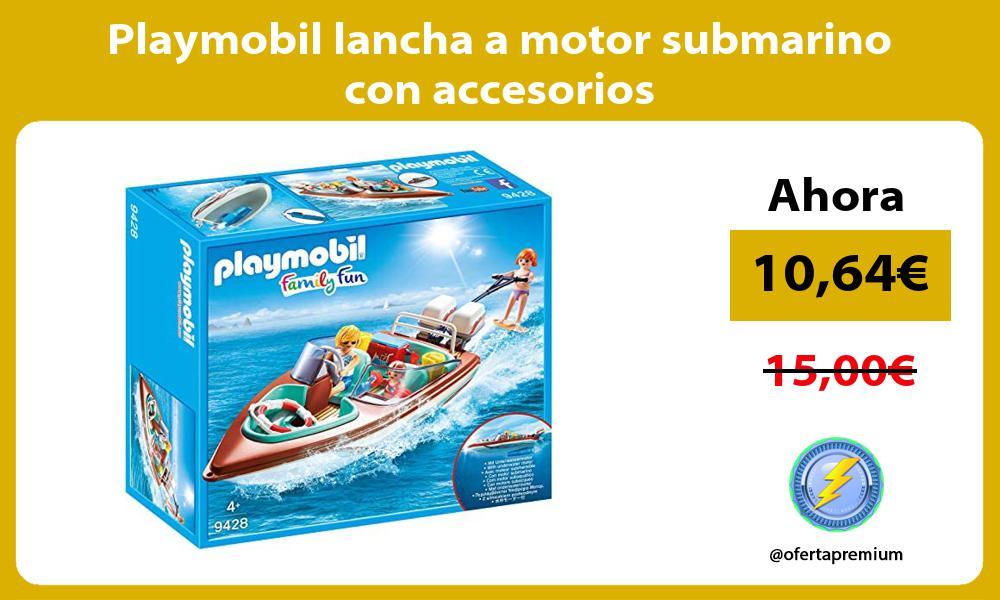 Playmobil lancha a motor submarino con accesorios