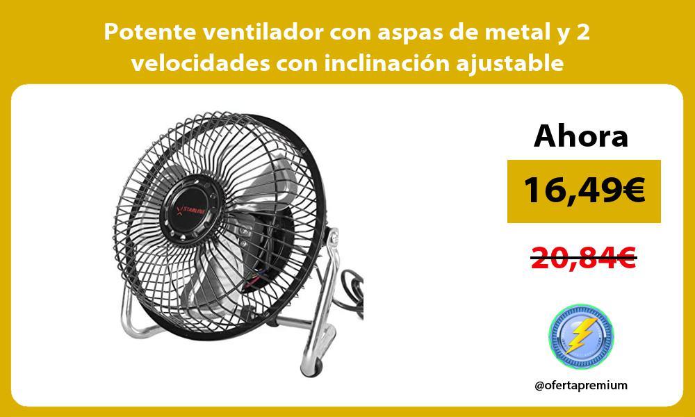 Potente ventilador con aspas de metal y 2 velocidades con inclinación ajustable