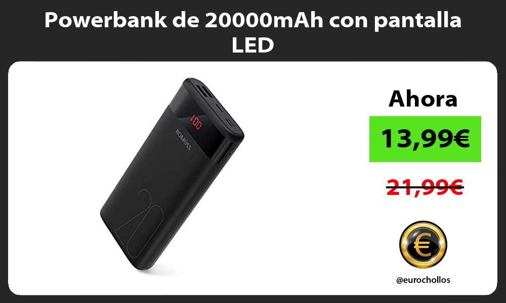 Powerbank de 20000mAh con pantalla LED