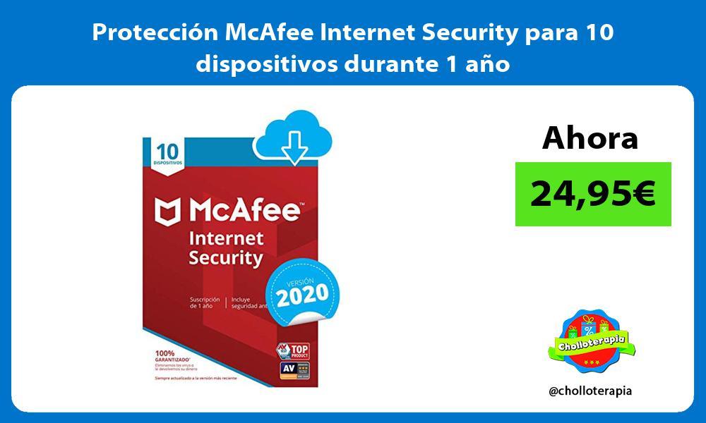 Protección McAfee Internet Security para 10 dispositivos durante 1 año
