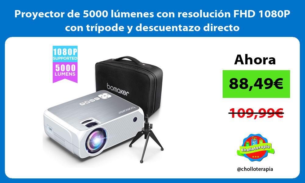 Proyector de 5000 lúmenes con resolución FHD 1080P con trípode y descuentazo directo
