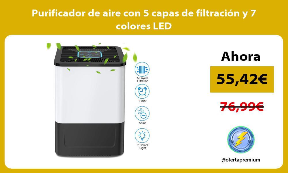 Purificador de aire con 5 capas de filtración y 7 colores LED