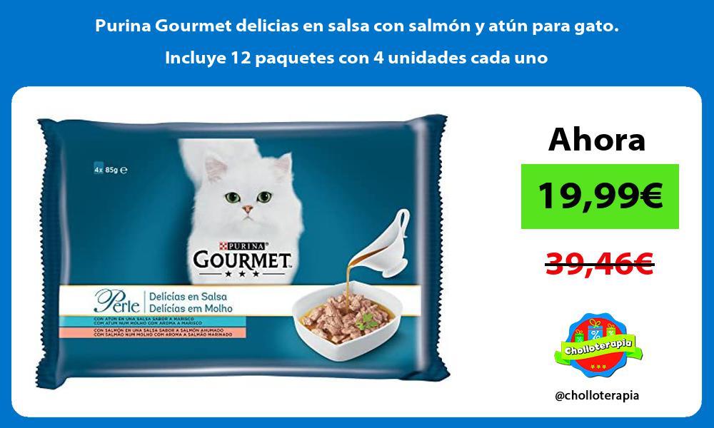 Purina Gourmet delicias en salsa con salmón y atún para gato Incluye 12 paquetes con 4 unidades cada uno
