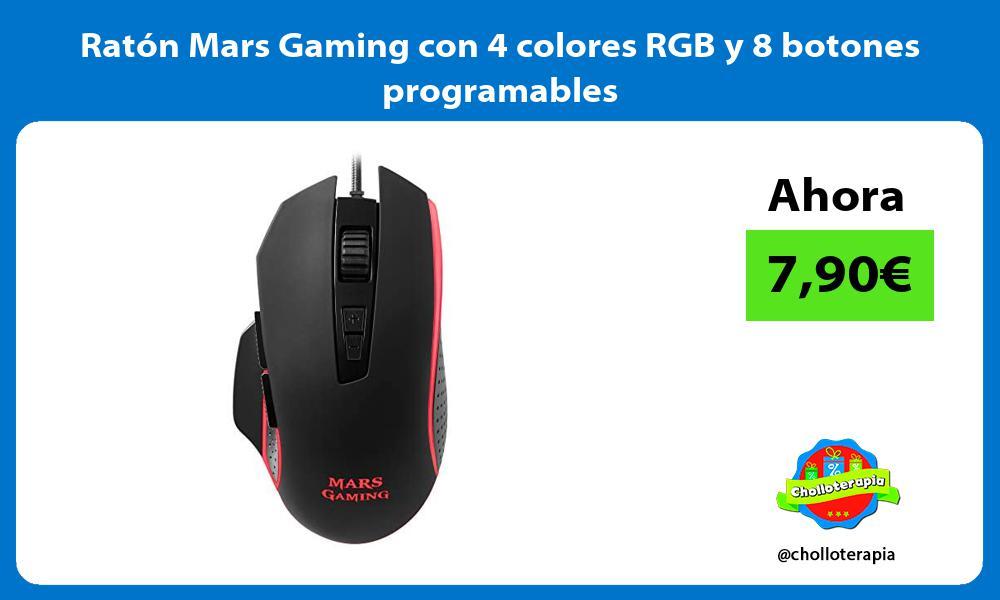 Ratón Mars Gaming con 4 colores RGB y 8 botones programables