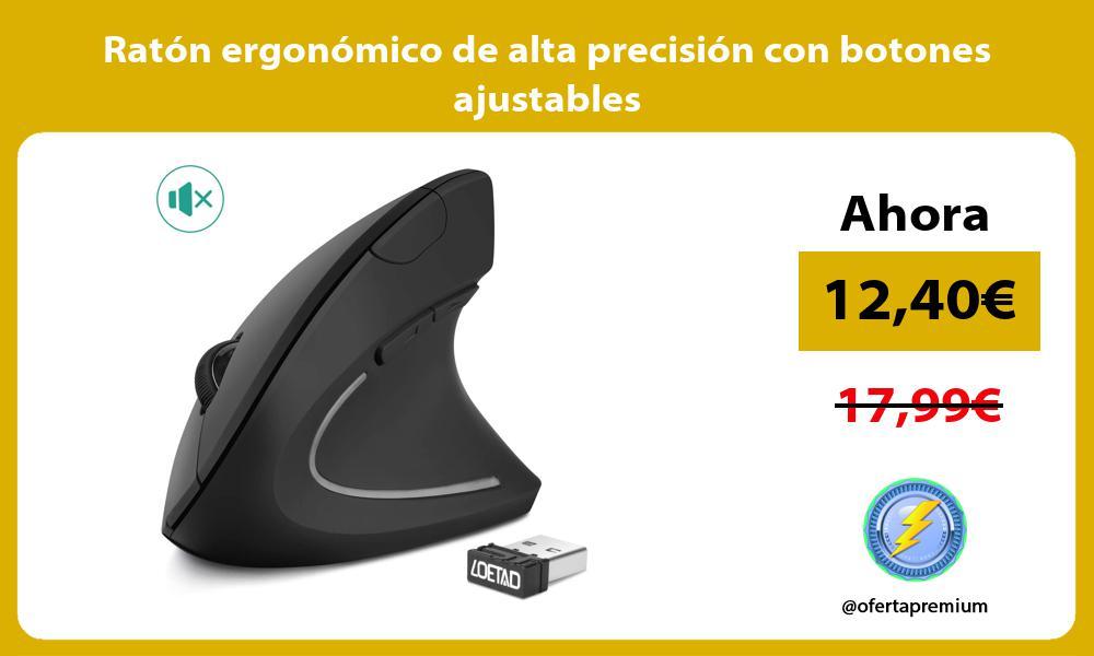 Ratón ergonómico de alta precisión con botones ajustables